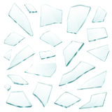 Broken Glass Fragments Shards Realistic Set. Broken plane transparent glass fragments shivers pieces shards various form and size collection realistic vector Royalty Free Stock Photography
