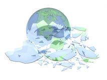 Broken glass globe. 3d rendered broken glass globe isolated on white Stock Photos