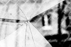 Broken Glass Grayscale Royalty Free Stock Photography