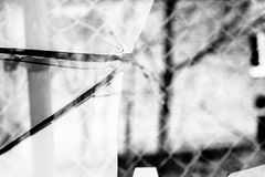 Broken Glass Grayscale Stock Image