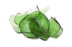 broken glass green Arkivbilder
