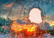 Broken glass in hdr Royalty Free Stock Image