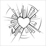 Broken glass and heart Royalty Free Stock Images