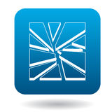 Broken glass icon in simple style Royalty Free Stock Images