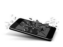 Broken glass phone. Cellular design isolated blsack