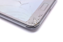 Broken glass phone on white background Royalty Free Stock Photo