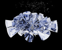 Broken glass piece. Over black background. 3d render Stock Photo