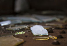 Broken glass pieces royalty free stock photography