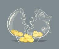Broken glass piggy bank Stock Photos