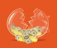Broken glass piggy bank Stock Image