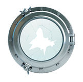 Broken glass porthole. 3d Illustrations on a white background Stock Image