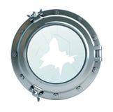 Broken glass porthole Stock Image