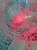 Broken glass with red lighting, safety details, Stock Photo