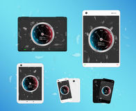 Broken glass screen smartphone and tablet with internet speed meter Royalty Free Stock Images