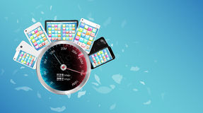 Broken glass screen smartphone and tablet with internet speed meter Royalty Free Stock Photography