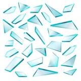 Broken glass shards on white vector set. Transparent of sharp fragment glass, illustration of broken shape glass vector illustration