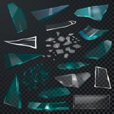 Broken glass sharp pieces vector 3d realistic shattered glassful and shatter or break mirror or glasses  on. Black transparent background illustration backdrop Royalty Free Stock Photo