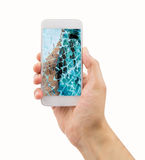 Broken glass of smart phone Stock Photos