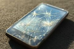 Broken glass of smart phone Royalty Free Stock Photo