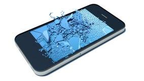 Broken glass smart-phone Stock Image