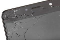 Broken glass of smartphone screen. Broken glass of smartphone screen close-up of cracks, isolated on white background stock image