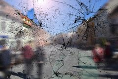 Broken glass texture. Realistic cracked glass effect, concept element stock photos