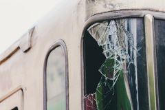 Broken glass of the train royalty free stock image
