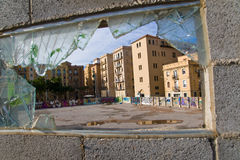 Broken glass with a view Stock Photography