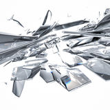 Broken glass on white background. Pieces of broken glass on white background Stock Image