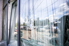 Broken glass window Stock Photography