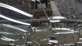 The broken glass window . shards of glass.  stock photo