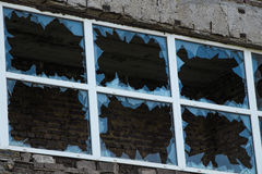 Broken glass window by vandals in Kiev Royalty Free Stock Photo
