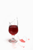 A broken  glass with wine Stock Photo