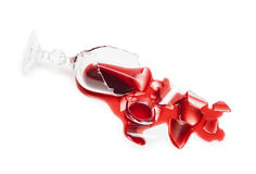 Broken glass of wine stock photography