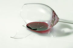 Broken glass of wine. Broken glass of red wine Stock Photography