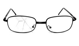 Broken glasses. Close up of broken glasses on white background with clipping path Royalty Free Stock Image