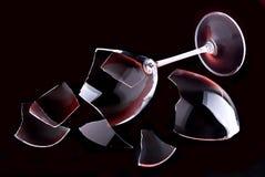 Broken glasswine. Broken glass on a black background Royalty Free Stock Photo