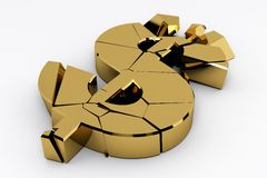 Broken gold dollar sign Stock Photography