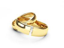 Broken gold wedding rings Stock Photography