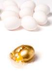 Broken golden egg. Concept of financial risk Royalty Free Stock Images