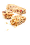 Broken Granola Bar Isolated on White Royalty Free Stock Photos