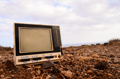 Broken Gray Television Abandoned Royalty Free Stock Images