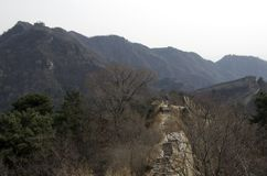 Broken Great Wall at Mutianyu. Great Wall at Mutianyu is further away from Beijing. It has the older wall which was built in Ming Dynasty royalty free stock photos