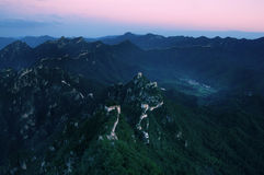 Broken Great Wall sunset. In China, many without the development of the deteriorating condition of the Great Wall, they are deep in the mountains, not people's Stock Photography
