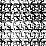Broken Greek Key Texture Seamless Pattern. Black and white broken greek key fret meander mosaic geometric pattern. Greek abstract lines texture seamless tile Stock Photo