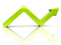 Broken green arrow. Illustration of broken rising green arrow (growth Royalty Free Stock Image