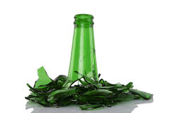 Broken green bottle Royalty Free Stock Images