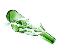 Broken green bottle Royalty Free Stock Photos