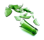 Broken green bottle Stock Photo