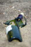 Broken green bottle Royalty Free Stock Photography